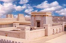 Bild mit Rekonstruktion des jüdischen Tempels